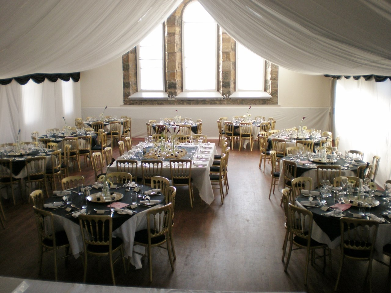 Hall dressed for a wedding reception